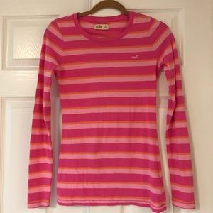 Hollister Pink Striped Long Sleeve Shirt size S